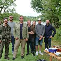 Google chefs stand together for a photo in front of Finnebrogue Lough