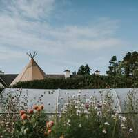 A tipi protrudes out behind a gorgeous wildflower garden and greenhouse